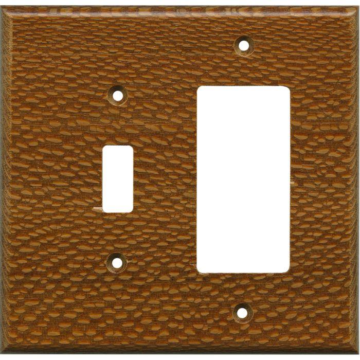 Fishtail Oak Satin Lacquer Combination 1 Toggle / Rocker GFCI Switch Covers