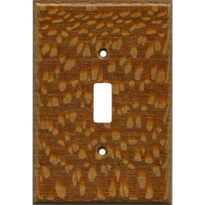 Fishtail Oak Satin Lacquer Single 1 Toggle Light Switch Plates