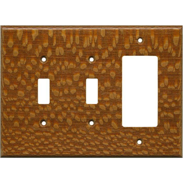 Fishtail Oak Satin Lacquer - 2 Toggle/1 GFCI Rocker Switchplates