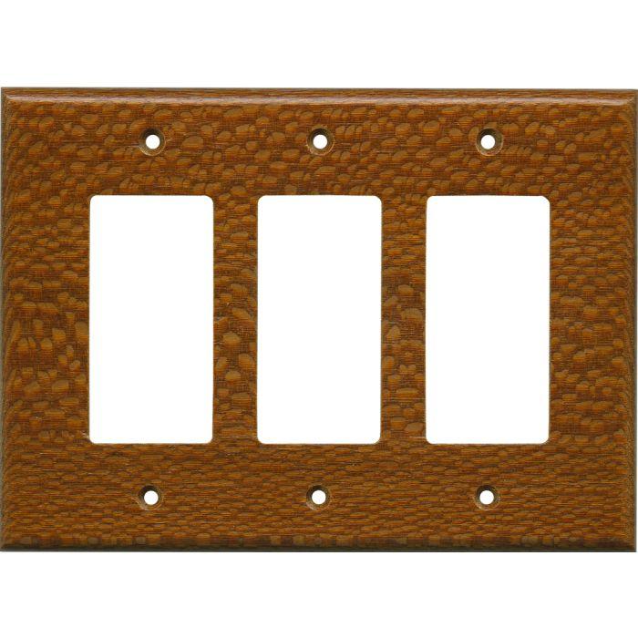 Fishtail Oak Satin Lacquer - 3 Rocker GFCI Decora Switch Covers