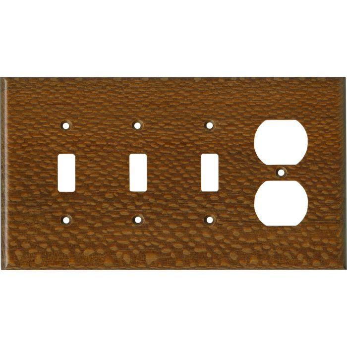 Fishtail Oak Satin Lacquer - 3 Toggle Switch Plates