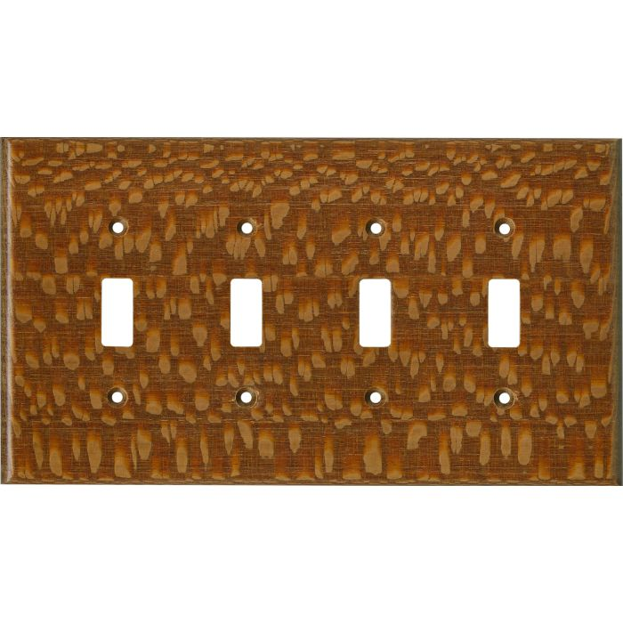Fishtail Oak Satin Lacquer - 4 Toggle Light Switch Covers