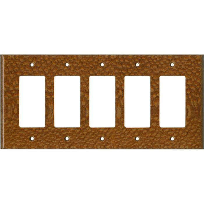 Fishtail Oak Satin Lacquer 5 GFCI Rocker Decora Switch Covers