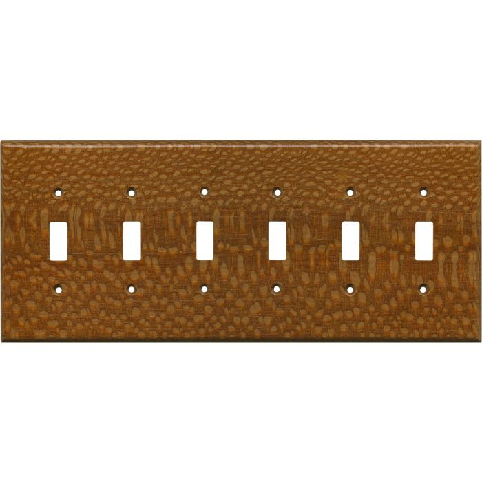 Fishtail Oak Satin Lacquer 6 Toggle Light Switch Covers