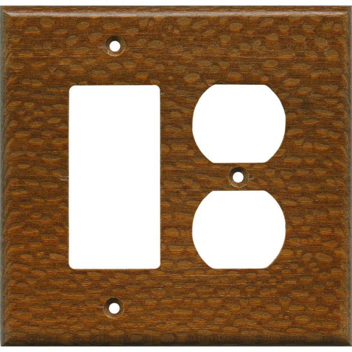 Fishtail Oak Satin Lacquer 1-Gang GFCI Decorator Rocker Switch Plate Cover