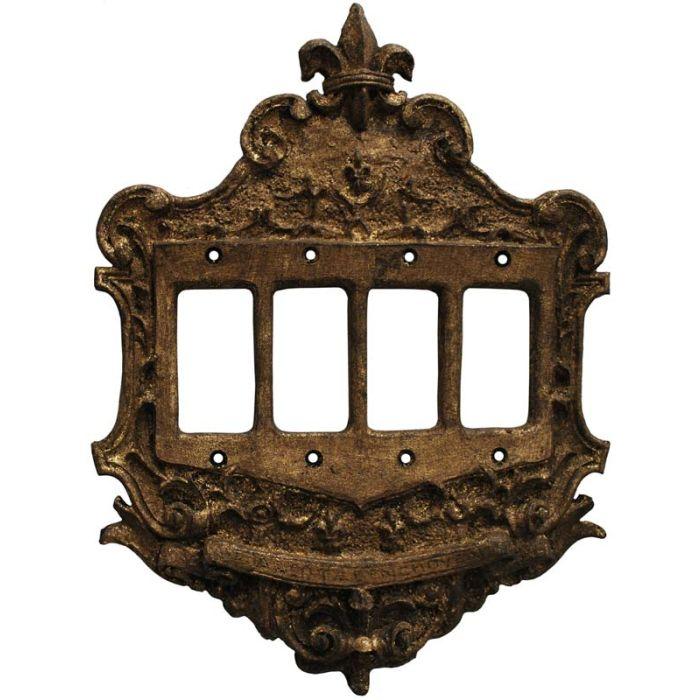 Fleur de Lis Renaissance 4 Rocker GFCI Decorator Switch Plates