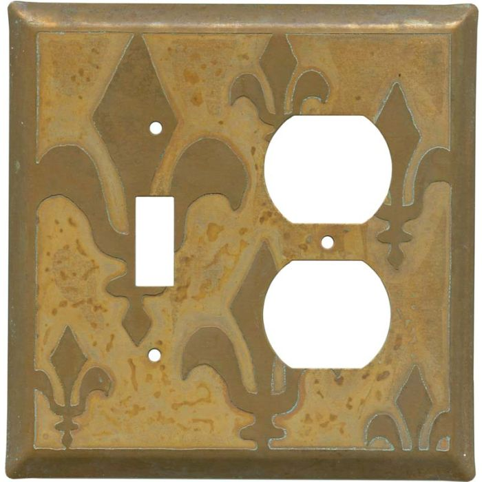 Fleur de Lis Tarnished Copper Combination 1 Toggle / Outlet Cover Plates