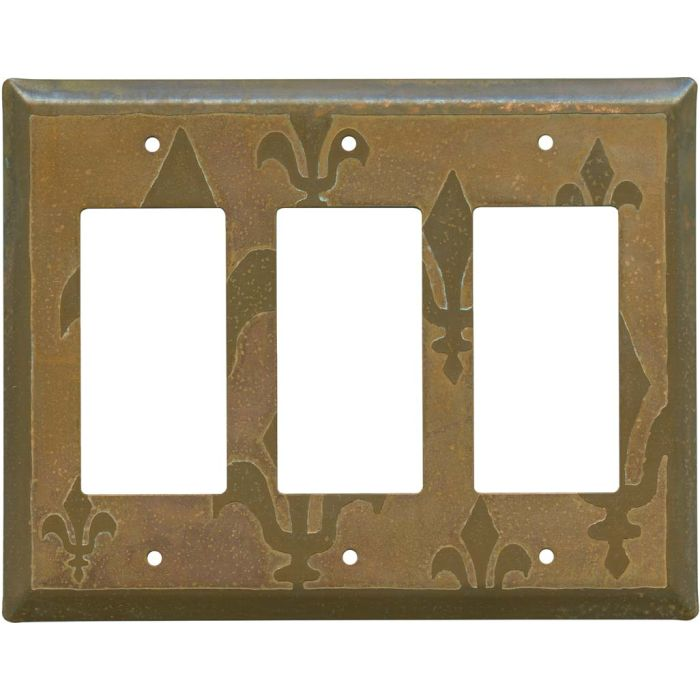 Fleur de Lis Tarnished Copper Triple 3 Rocker GFCI Decora Light Switch Covers
