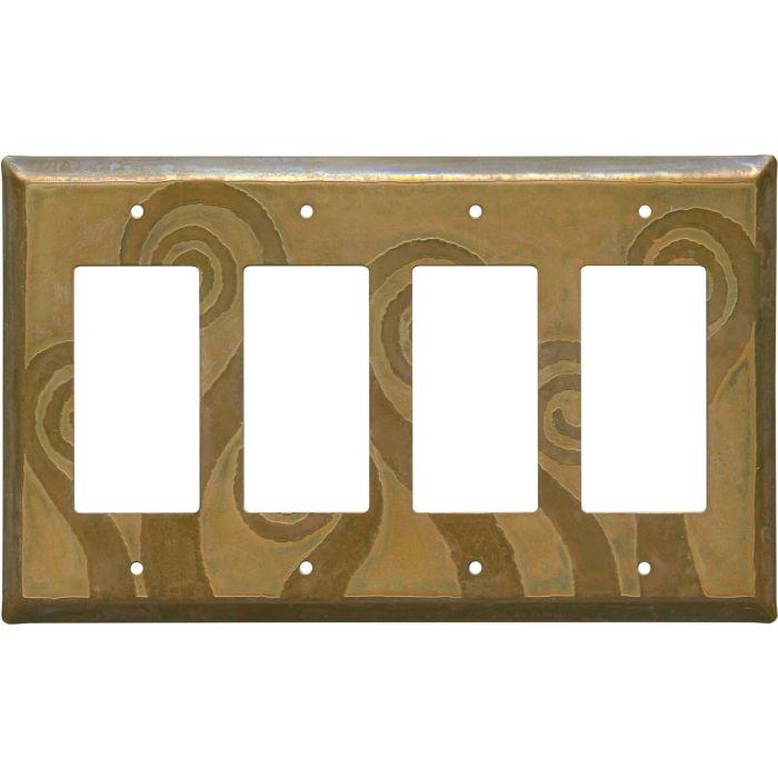 Fleur de Lis Tarnished Copper 4 Rocker GFCI Decorator Switch Plates