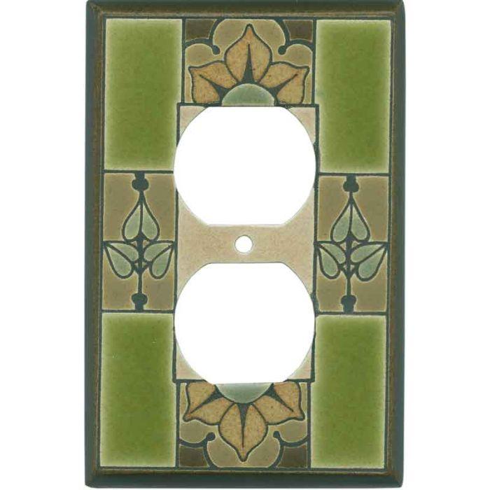 Floral Tile Green Ceramic