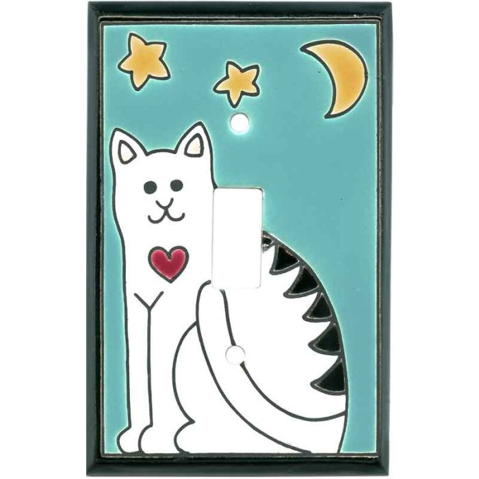 Folk Art Cat Ceramic Single 1 Toggle Light Switch Plates