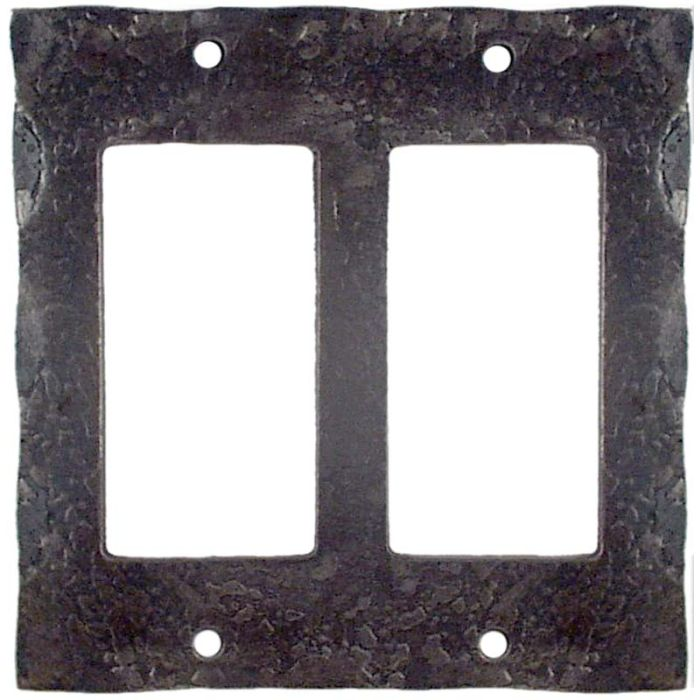 Forged Metal 2 Gang Decorator / GFCI Rocker Wall Plate Cover