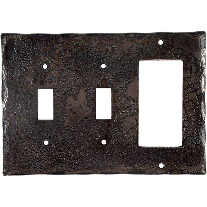 Forged Metal Double 2 Toggle / 1 GFCI Rocker Combo Switchplates