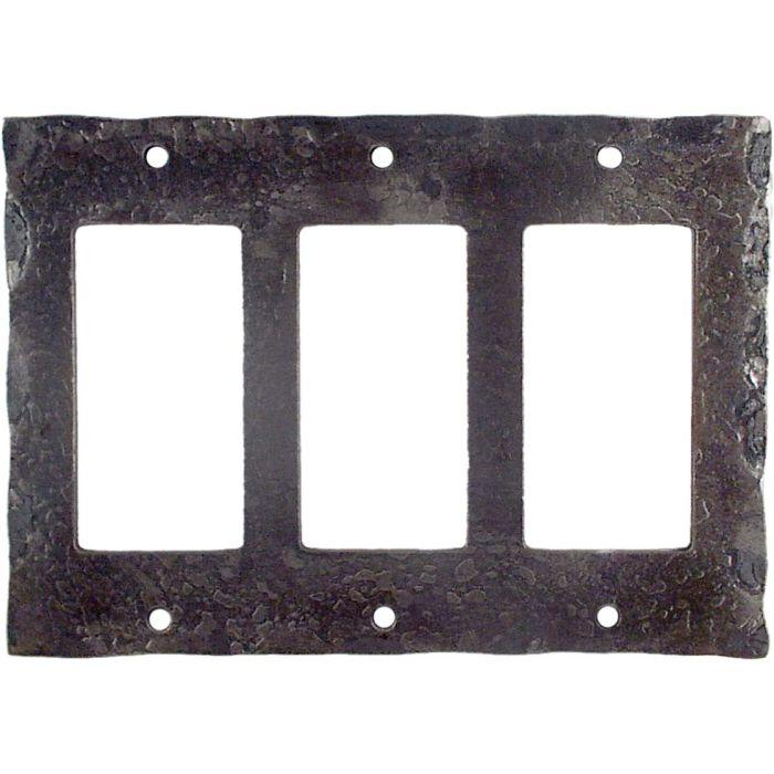Forged Metal Triple 3 Rocker GFCI Decora Light Switch Covers