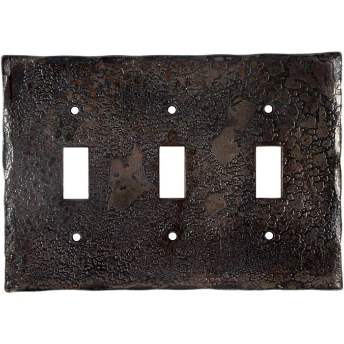 Forged Metal Triple 3 Toggle Light Switch Covers