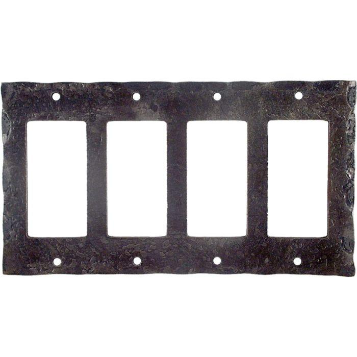 Forged Metal 4 Rocker GFCI Decorator Switch Plates