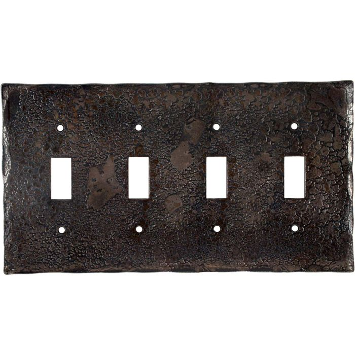 Forged Metal Quad 4 Toggle Light Switch Covers