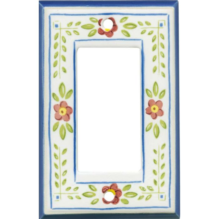 French Country Ceramic Single 1 Gang GFCI Rocker Decora Switch Plate Cover