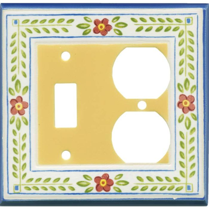 French Country Ceramic Combination 1 Toggle / Outlet Cover Plates