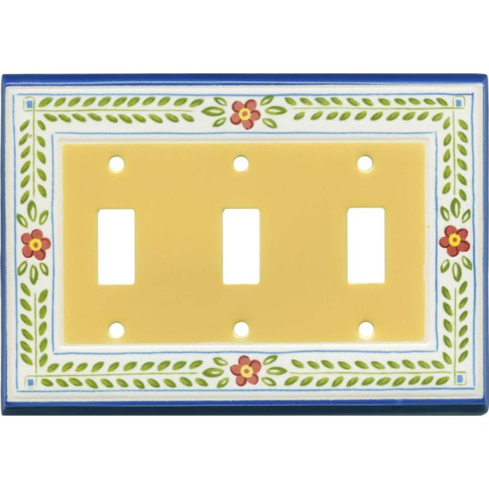 French Country Ceramic Triple 3 Toggle Light Switch Covers