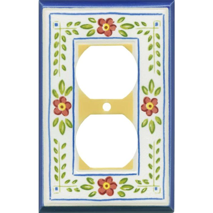 French Country Ceramic 1 Gang Duplex Outlet Cover Wall Plate