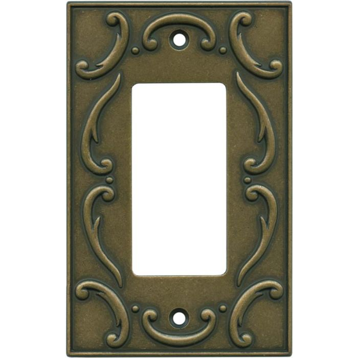 French Lace Burnished Antique Brass Single 1 Gang GFCI Rocker Decora Switch Plate Cover