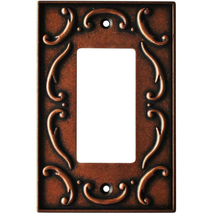 French Lace Sponged Copper Single 1 Gang GFCI Rocker Decora Switch Plate Cover