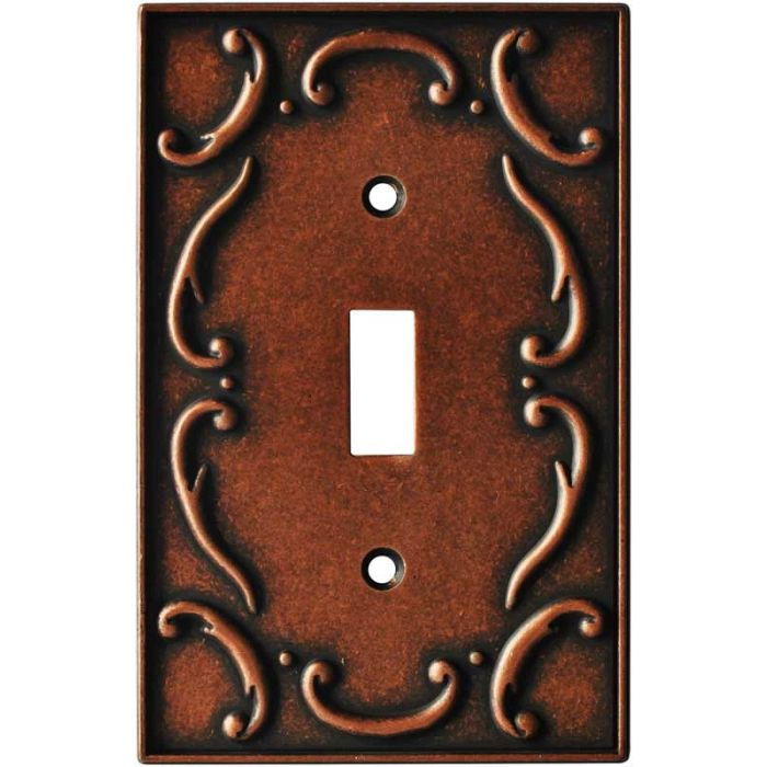French Lace Sponged Copper Single 1 Toggle Light Switch Plates