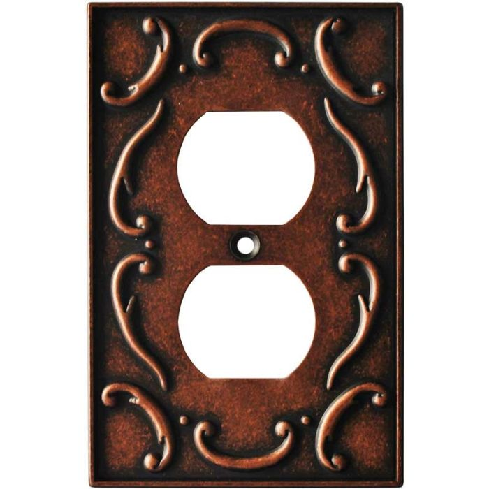 French Lace Sponged Copper 1 Gang Duplex Outlet Cover Wall Plate