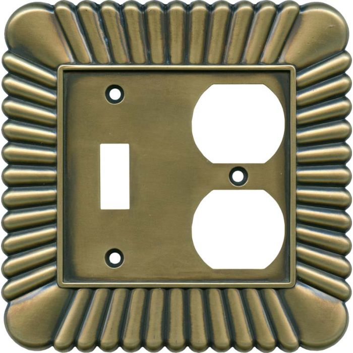 French Tassel Antique Brass Combination 1 Toggle / Outlet Cover Plates