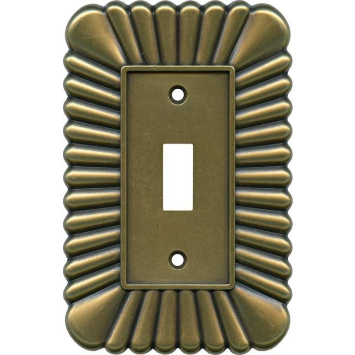 French Tassel Antique Brass Single 1 Toggle Light Switch Plates