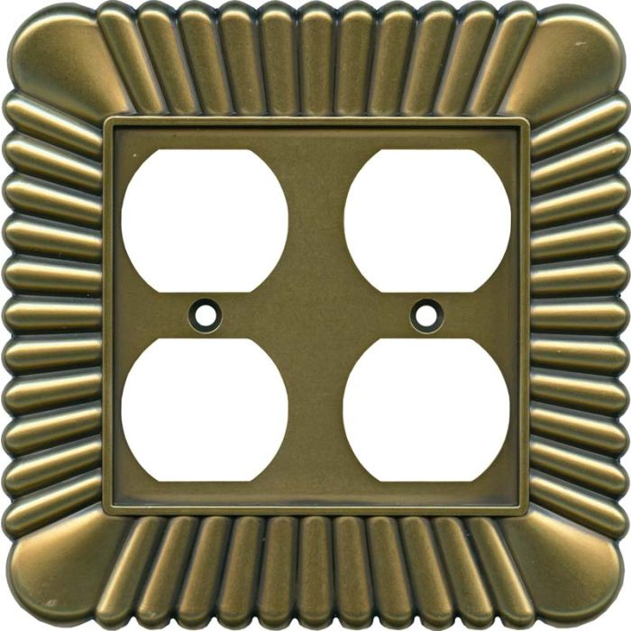 French Tassel Antique Brass 2 Gang Duplex Outlet Wall Plate Cover