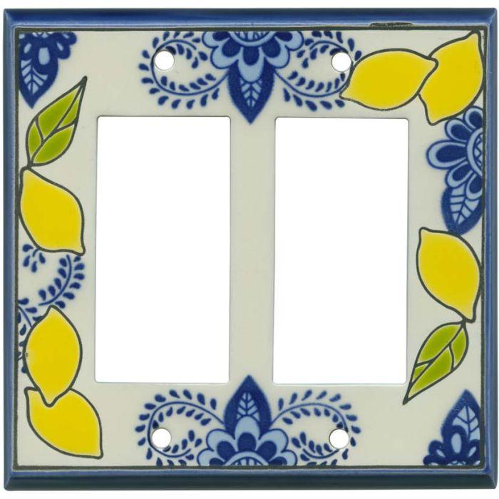 Fresh Lemons Ceramic 2 Gang Double GFCI Rocker Decorator Wallplates