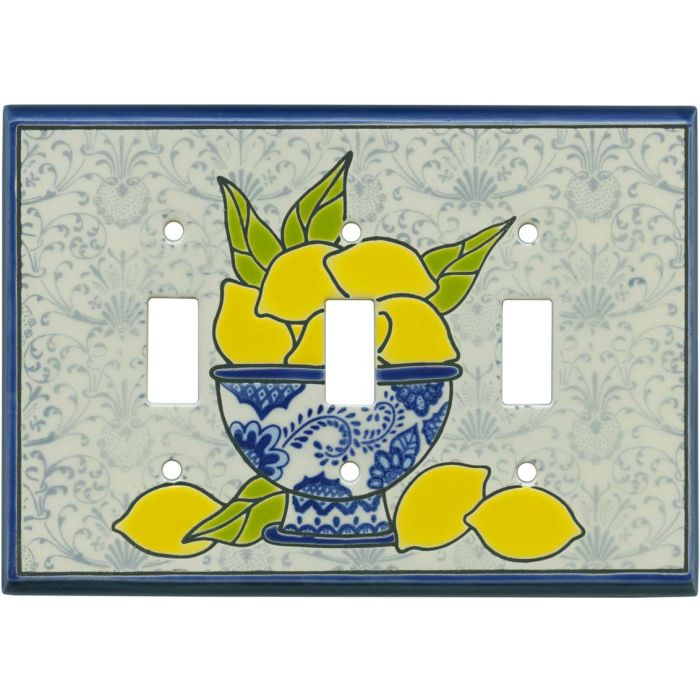 Fresh Lemons Ceramic Triple 3 Toggle Light Switch Covers