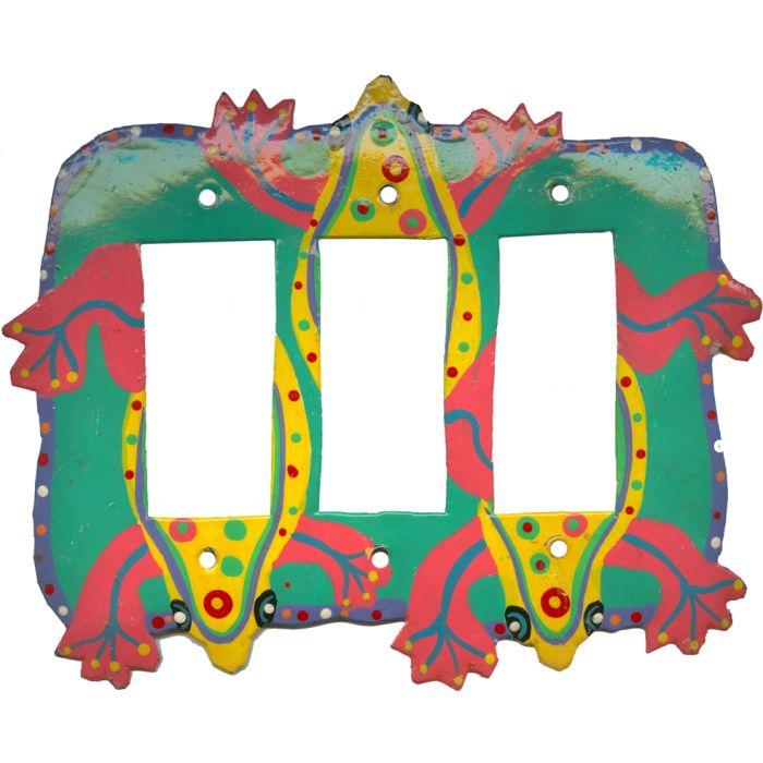 Funky Frog Triple 3 Rocker GFCI Decora Light Switch Covers
