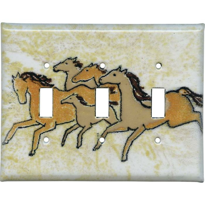 Galloping Herd Triple 3 Toggle Light Switch Covers