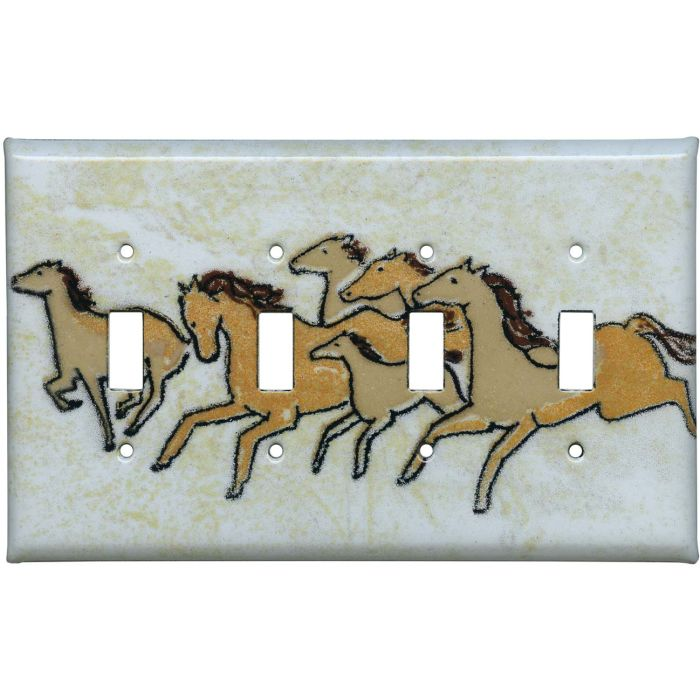 Galloping Herd Quad 4 Toggle Light Switch Covers