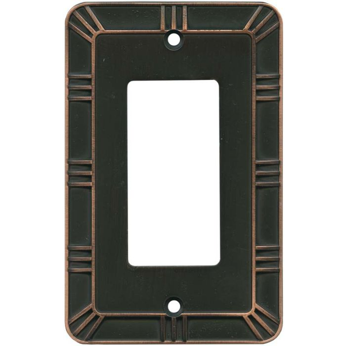 Gatsby Bronze with Copper Highlights Single 1 Gang GFCI Rocker Decora Switch Plate Cover