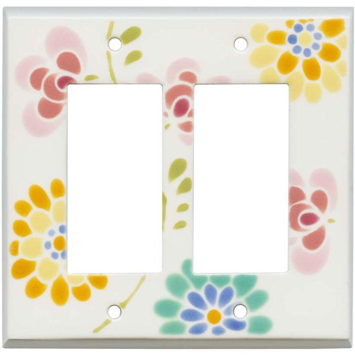 Glass Flowers White Ceramic 2 Gang Double GFCI Rocker Decorator Wallplates