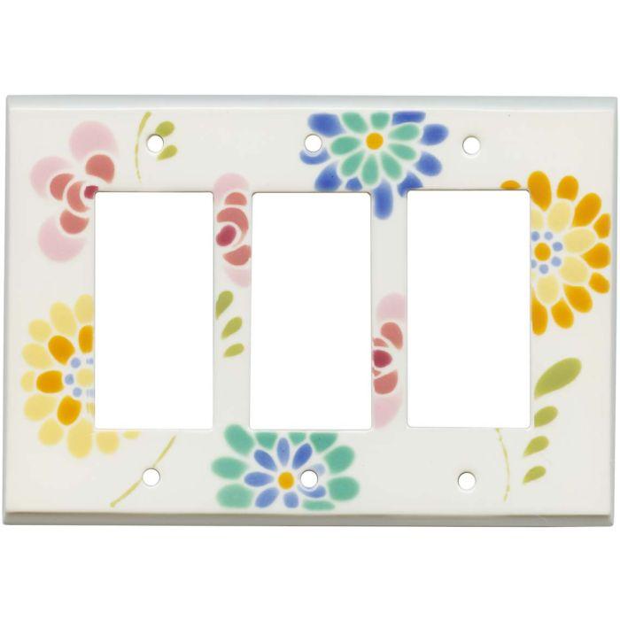 Glass Flowers White Ceramic Triple 3 Rocker GFCI Decora Light Switch Covers