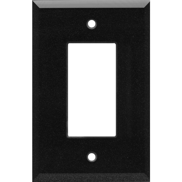 Glass Mirror Black with Blue Sparkle Single 1 Gang GFCI Rocker Decora Switch Plate Cover
