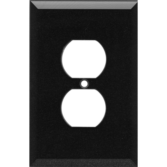 Glass Mirror Black with Blue Sparkle 1 Gang Duplex Outlet Cover Wall Plate