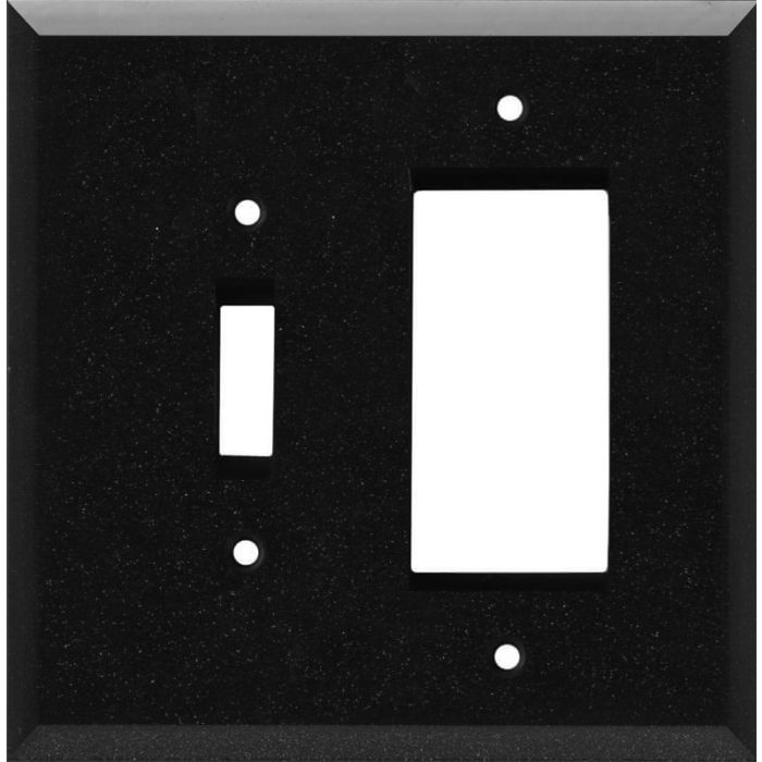 Glass Mirror Black with Blue Sparkle Combination 1 Toggle / Rocker GFCI Switch Covers