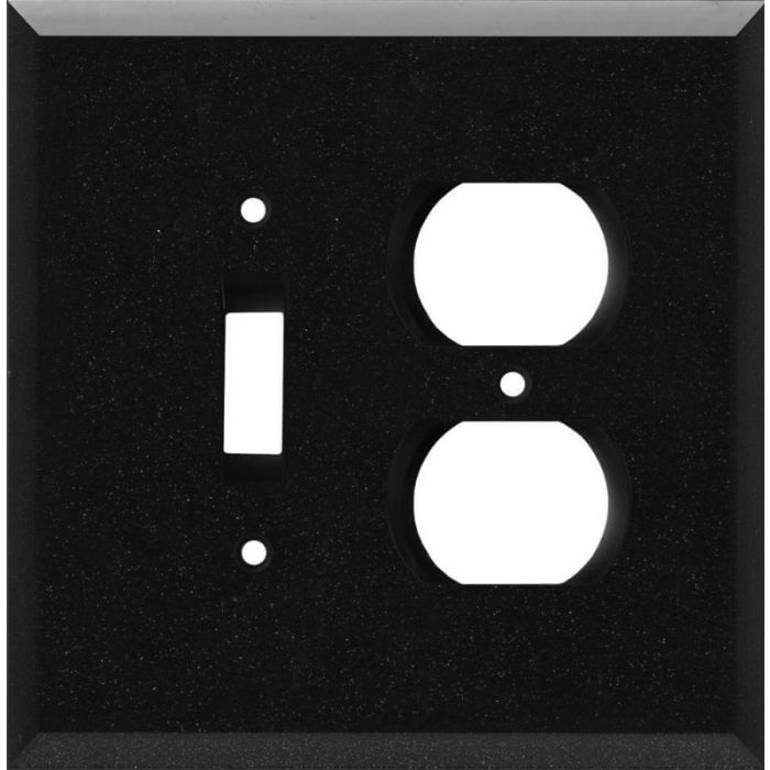 Glass Mirror Black with Blue Sparkle Combination 1 Toggle / Outlet Cover Plates