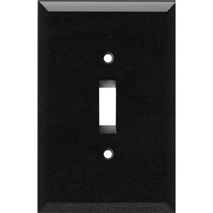 Glass Mirror Black with Blue Sparkle Single 1 Toggle Light Switch Plates