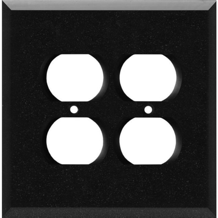Glass Mirror Black with Blue Sparkle 2 Gang Duplex Outlet Wall Plate Cover