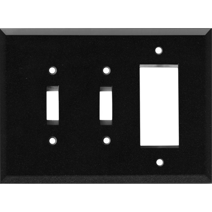 Glass Mirror Black with Blue Sparkle - 2 Toggle/1 GFCI Rocker Switchplates