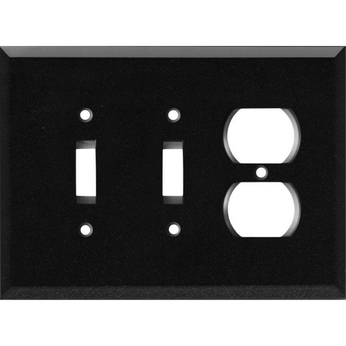 Glass Mirror Black with Blue Sparkle - 2 Toggle/Outlet Combo Wallplates