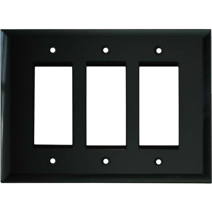 Glass Mirror Black 3 - Rocker / GFCI Decora Switch Plate Cover
