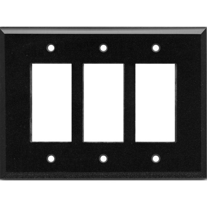 Glass Mirror Black with Blue Sparkle - 3 Rocker GFCI Decora Switch Covers